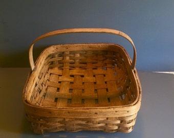 Vintage Market Basket, Dry Basket Co. MD, Market Basket with handle.  Large market basket, Gift basket, storage basket