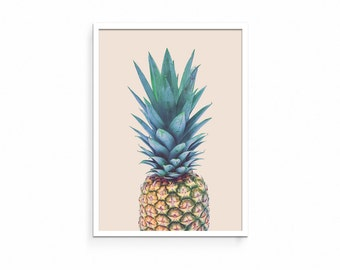 Pineapple Print, Pineapple Art, Pineapple Photo, Art, Summer, Fruit, Wall Art Decor, Digital Print, Modern Minimal, Neutral, Vintage, Poster