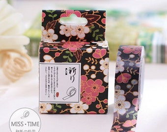 Cherry Blossom on Black Washi Tape - 15 mm x 10 m - Paper Tape by Miss Time
