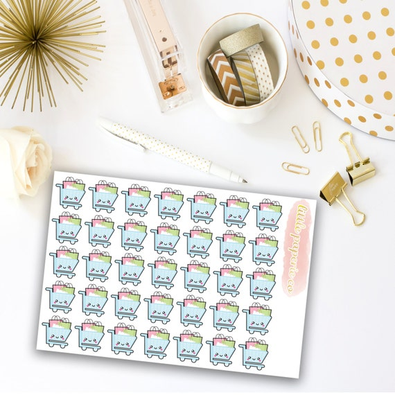 Shopping Cart Planner Stickers, Grocery Cart Stickers, Planner Stickers, Planner Decor, Decoraring Stickers, Item Stickers, Shopping Sticker