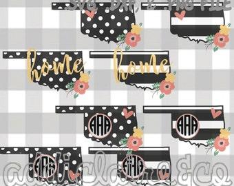 Floral, Stripe, & Polka Dot Monogram Oklahoma Files (svg, png, dxf)