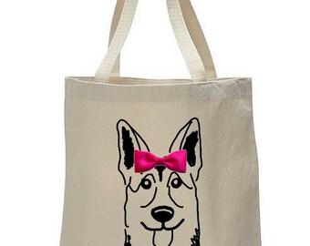 Dogs & Bow Ties: German Shepherd Canvas Tote Bag