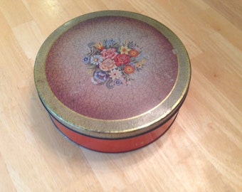 Vintage Cookie Tin with flowers and crackle cover design, biscuit tin, red tin, round tin, antique tin, home decor, country decor