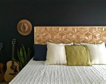 Geometric Headboard, Rustic Wooden Headboard, Modern Wood Headboard, Modern  Headboard