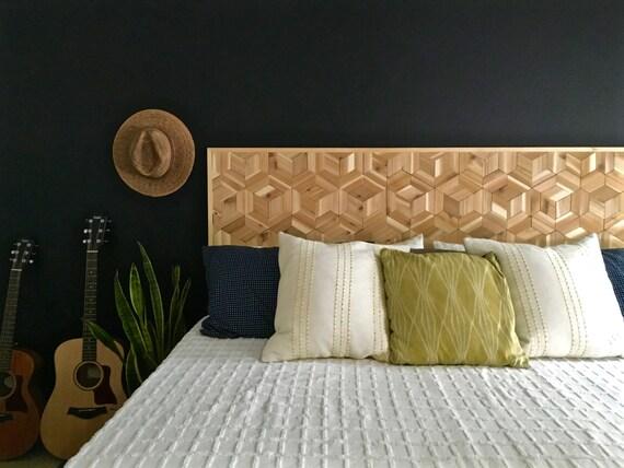 Geometric Headboard Rustic Wooden Headboard Modern Wood