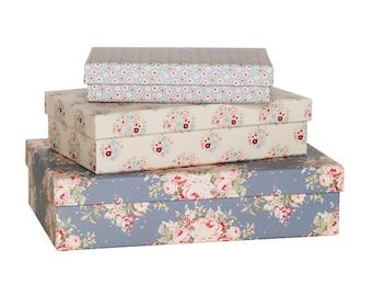 3 boxes Tilda Sweatheart - box storage - cardboard box