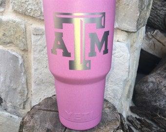 Texas A&M Aggies Etch - NEW Authentic YETI or Ozark Rambler Custom Powder Coat Dipped