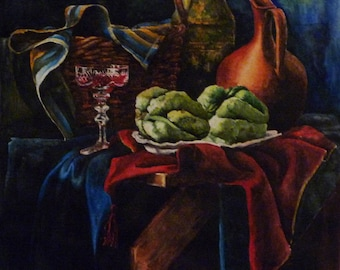 Original watercolor painting Still life .
