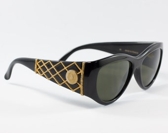 Vintage Rochas Sunglasses | Rochas Paris 90s Black / Gold Metal Detail Sunglasses