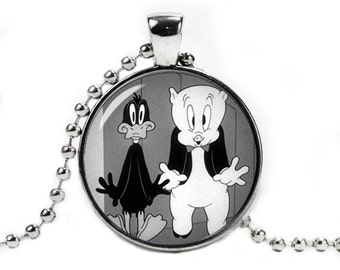 Daffy Duck and Porky Pig Necklace Pendant Daffy Duck Necklace Porky Pig Geeky Jewelry