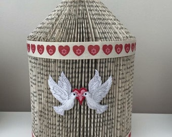 Book folding bird cage with vintage ribbon and bird detail