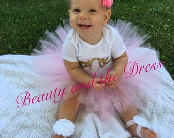 "First birthday gold and pink ""one"" set. Gold and pink tutu set. Infant and toddler tutu birthday set."