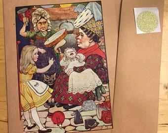Alice in Wonderland vintage book att greeting card