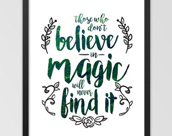 Believe In Magic Forest Woodland 8x10 Wall Quote Art DIGITAL DOWNLOAD Print