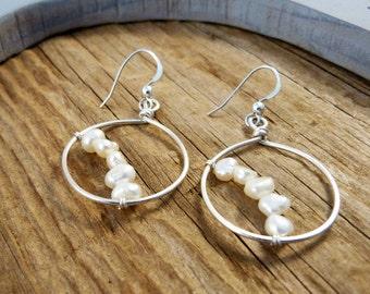 sterling silver, pearl hoop earrings, dangle pearl earrings, june birthstone earrings