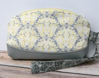 Grey Yellow Clutch wristlet bag