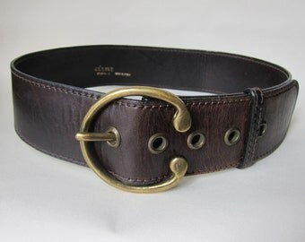 CELINE Paris belt wide leather Vintage 1960 1970