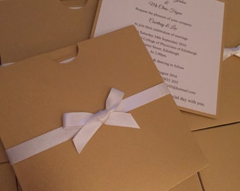 10 x Gold & Ivory Wallet Wedding Invitation