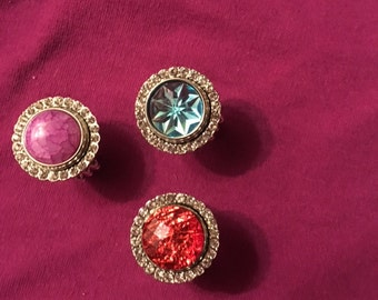 New Bling Snap rings with adjustable band for women and teens