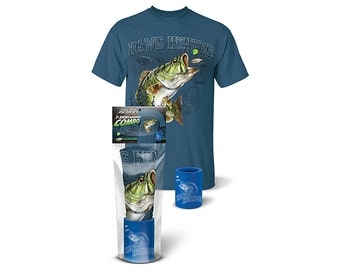 """Follow the Action® Largemouth Bass """"Hawg Hunter"""" T-Shirt and Koozie® Combo Gift Set"""