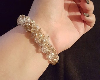 Clear-Amber Crystal Stretch Bracelet