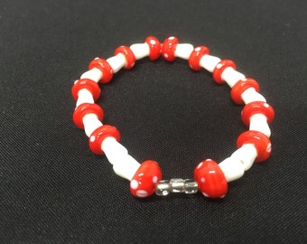 Fairy ring toadstool themed bracelet
