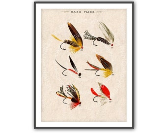 Fly Fishing Home Decor Bass Fish Flies Antique Angler Print Fishermen Fly Fishing Lures Angling Fish