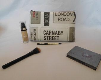 London street sign make up bag, wash bag (Large)