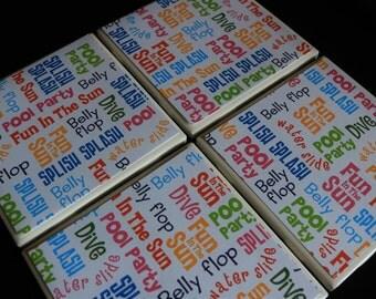 Handmade Coasters - Summer Tile Coasters - Pool Coasters - Coaster Set - Tile Coasters - Unique Coasters - Ceramic Coasters