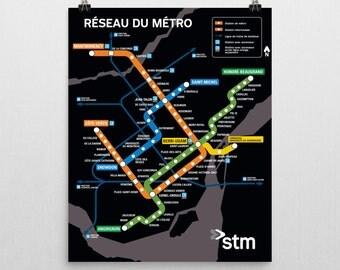 Montreal Metro Map Poster - Plan du Métro de Montréal