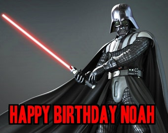 STAR WARS Darth Vader 1/4 Edible Frosting Icing Sheet Cake Topper Image Customized Personalized Birthday 1st Party Custom Decoration
