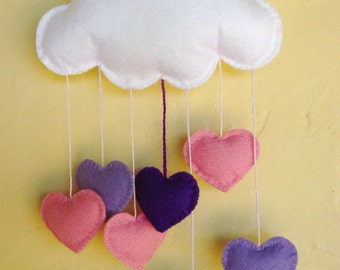 Handmade 17cm wide felt cloud with pink and purple hearts