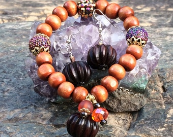 Fall Pumpkins Inspired Bracelet and Earring Set