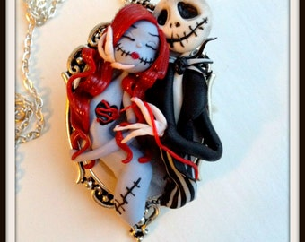 Nightmare before Christmas pendant in polymer clay.sculptures in polymer clay,gift for her,gift for Christmas,dolls in polymer clay