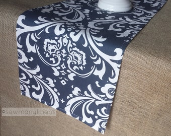 Navy Blue Table Runner Floral Damask Nautical Coastal Home Decor Dining Room Kitchen Linens Table Centerpiece