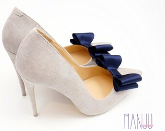 Navy blue satin bows - Dark blue shoe accessories