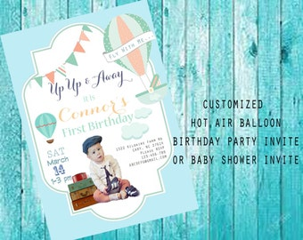 Hot Air Balloon/Up and Away First Birthday Invitation,BabyShower Boy Invite,Personalized Up and Away Party