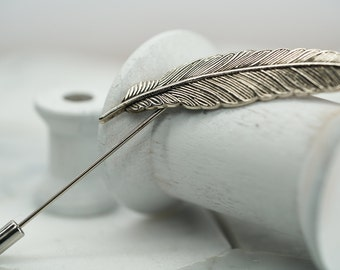 Silver Metal Feather Lapel Pin. Mens Wedding Feather Brooch. Antiqued Silver Lapel Pins. Mens Suit Accessories. Dear Martian Accessories.