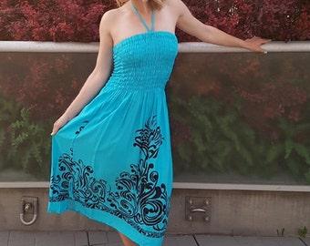 Women's Aqua Bali Batik Summer Dress