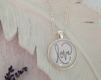 Love // Handwritten Pendant Necklace