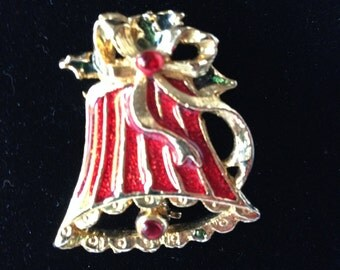 Brooch, Vintage Christmas Gold tone and red lacquer bell