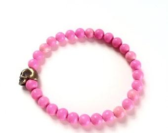 Skull Bracelet, Hot Pink Beaded Bracelet, Turquoise Bracelet, Rose Bracelet, Turquoise Jewelry, Skull Jewelry, Bracelets for Women