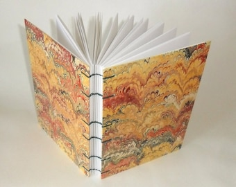 Notebook A5 - beige red black marble paper / / journal / / gift / / friendship