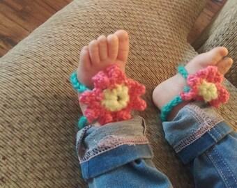 Crochet Barefoot Flower Sandals