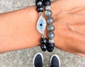 Matte Black Onyx and Labradorite Bracelet