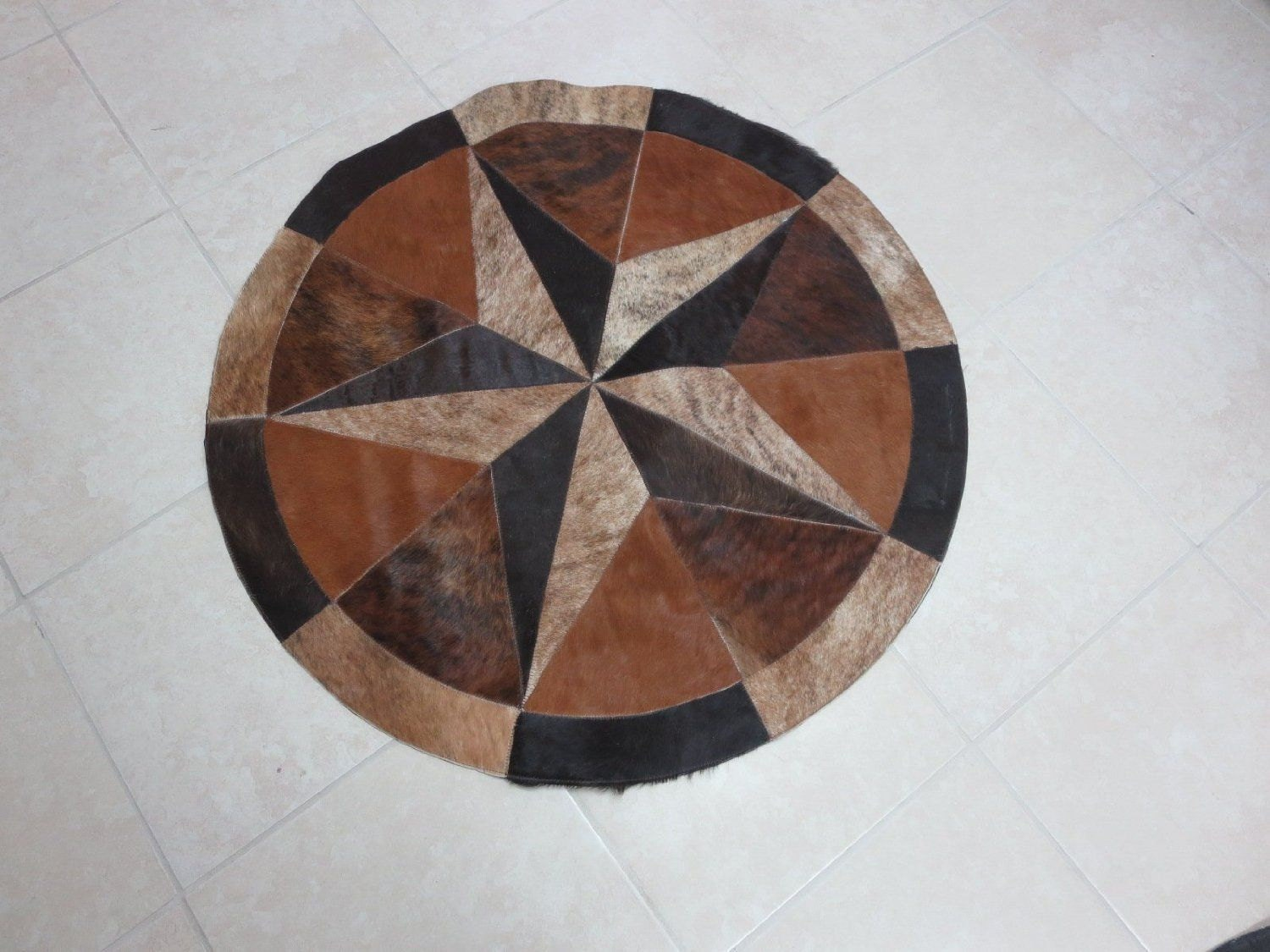 Rug Leather Star Cow Hide Patchwork Area Round Carpet