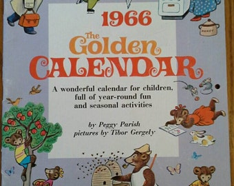 RARE Vintage1966 Little Golden CALENDAR by Peggy Parish, pictures by Tibor Gergely, Golden Press #2556