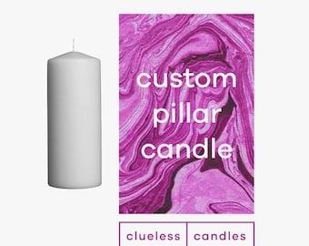 Custom Marbled Pillar Candle.