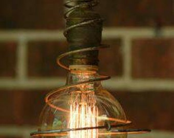 Pendant light Edison squirrel cage light bulb