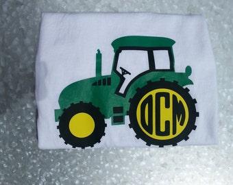 Boys Girls Toddler Infant Tractor Personalized Monogram Short Long Sleeved Shirt